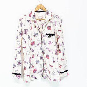 Victoria's Secret White Flannel Girly PJ Top